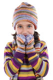 Adorable little girl with clothes for the winter. Isolated on white Royalty Free Stock Images