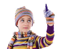 Adorable little girl with clothes for the winter w Royalty Free Stock Image