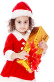 Adorable little girl in costume of Santa Claus Royalty Free Stock Images