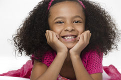 Adorable little girl with curly hair stock photos