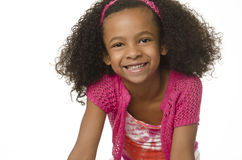 Adorable little girl with curly hair Stock Images