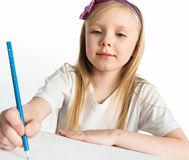 Adorable little girl drawing artwork Royalty Free Stock Photos