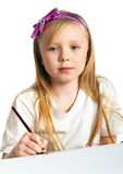 Adorable little girl drawing artwork Stock Image
