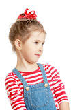 Adorable little girl in dress with straps large Royalty Free Stock Photos