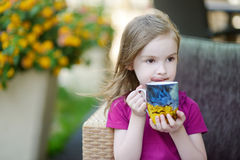 Adorable little girl drinking hot chocolate Stock Images