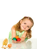 Adorable little girl with easter eggs and chicken Royalty Free Stock Images