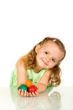 Adorable little girl with easter eggs - isolated Royalty Free Stock Photography