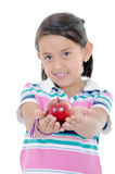 Adorable little girl eating an apple solated Stock Photography
