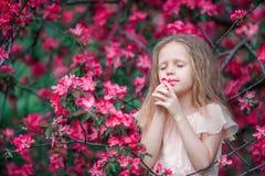 Adorable little girl enjoying smell in a flowering spring garden Royalty Free Stock Photos