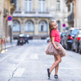 Adorable little girl at european city outdoors Royalty Free Stock Photography