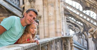 Adorable little girl with father on the rooftop of Royalty Free Stock Photography