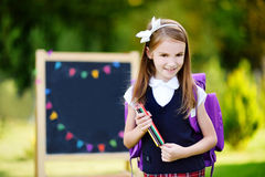 Adorable little girl feeling exited about going back to school Royalty Free Stock Image