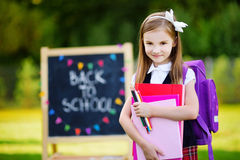 Adorable little girl feeling exited about going back to school Stock Photography