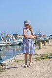 Adorable little girl at fisherman village Royalty Free Stock Photo