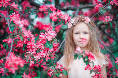 Adorable little girl in a flowering spring apple garden Royalty Free Stock Photo