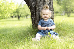 Adorable little girl in the forest meadow Stock Images