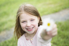Adorable little girl in the forest meadow Royalty Free Stock Photography