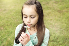 Adorable little girl in the forest meadow Royalty Free Stock Images