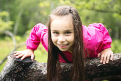 Adorable little girl in the forest meadow Stock Image