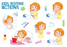 Adorable little girl with ginger hair and freckle face - daily routine - white background Royalty Free Stock Image