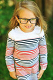 Adorable little girl in glases - outdoors Royalty Free Stock Photography