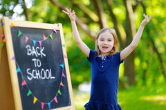 Adorable little girl is going back to school Stock Images