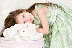 Adorable little girl in green dress Royalty Free Stock Photos