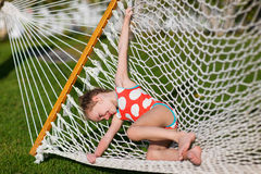 Adorable little girl in hammock Royalty Free Stock Images