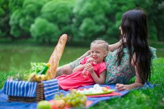 Adorable little girl and happy mother picnicking Royalty Free Stock Photography