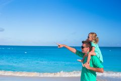 Adorable little girl have fun with dad during Stock Photography