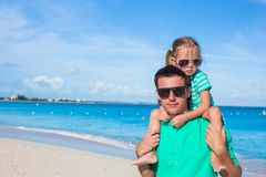 Adorable little girl have fun with dad during Royalty Free Stock Image