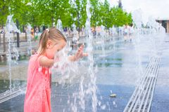 Adorable little girl have fun at hot sunny summer Royalty Free Stock Photo