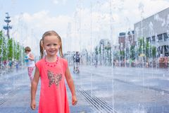 Adorable little girl have fun at hot sunny summer Royalty Free Stock Images