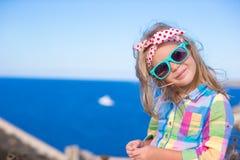 Adorable little girl have fun outdoor, Corsica Royalty Free Stock Photos