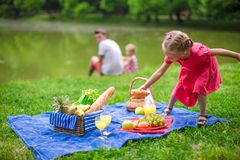 Adorable little girl have fun on picnic Stock Photo