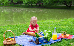 Adorable little girl have fun on picnic Royalty Free Stock Photography