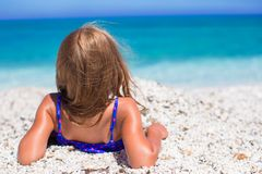 Adorable little girl have fun at tropical beach. Adorable little girl at tropical beach Stock Image