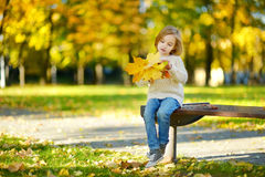Adorable little girl having fun on autumn day Stock Images