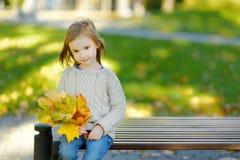 Adorable little girl having fun on autumn day Stock Photos