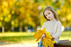 Adorable little girl having fun on autumn day Royalty Free Stock Photography