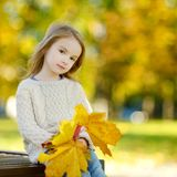 Adorable little girl having fun on autumn day Royalty Free Stock Image
