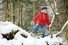 Adorable little girl having fun in beautiful winter forest. Happy child playing in a snow. stock photo