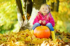 Adorable little girl having fun on a pumpkin patch on beautiful autumn day Stock Photography