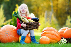 Adorable little girl having fun on a pumpkin patch Royalty Free Stock Photos