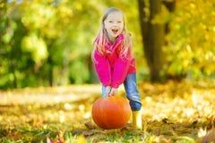 Adorable little girl having fun on a pumpkin patch on beautiful autumn day Stock Photos