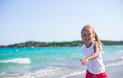 Adorable little girl having fun during tropical Royalty Free Stock Photography