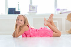 Adorable little girl in her room Royalty Free Stock Photos