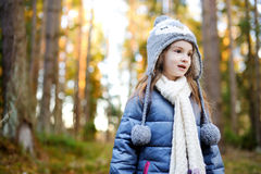 Adorable little girl hiking in forest Royalty Free Stock Photography
