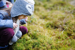 Adorable little girl hiking in forest Stock Photos