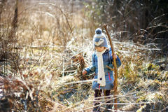 Adorable little girl hiking in forest Stock Photography
